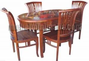 Furniture Jati Kursi Meja Makan Keranjang